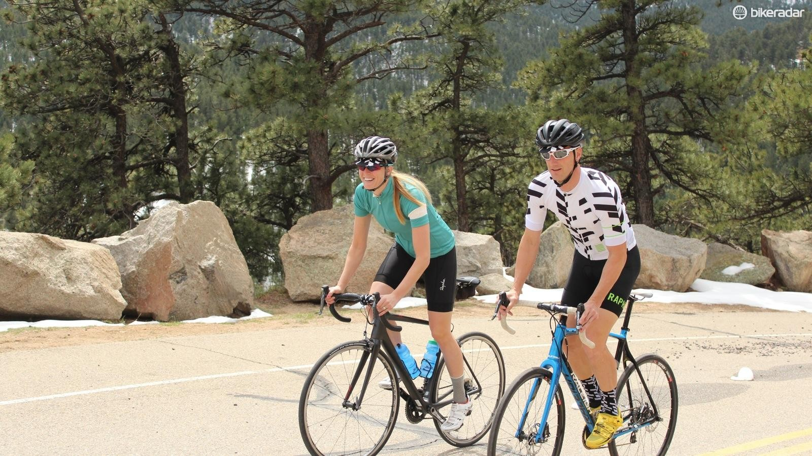 Rapha has two basic styles of jersey - dyed Sportwool at left and printed polyester at right