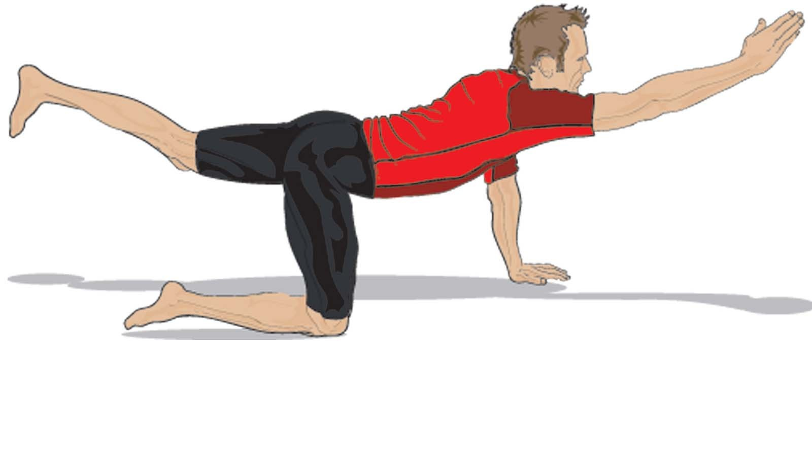 To perform the superman, get on all fours, then lift your right arm and left leg, then swap to lift your left arm and right leg