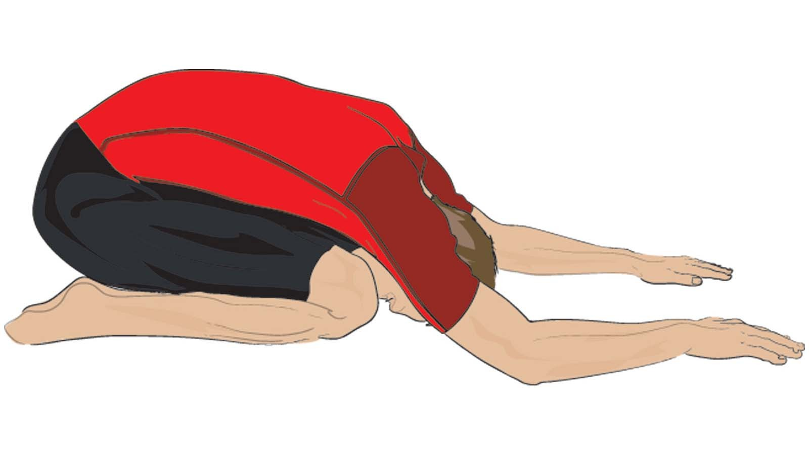 Lean down into your legs to perform the child's pose