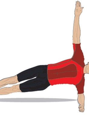 Lean on your left arm and reach up high with your right to do an effective side plank