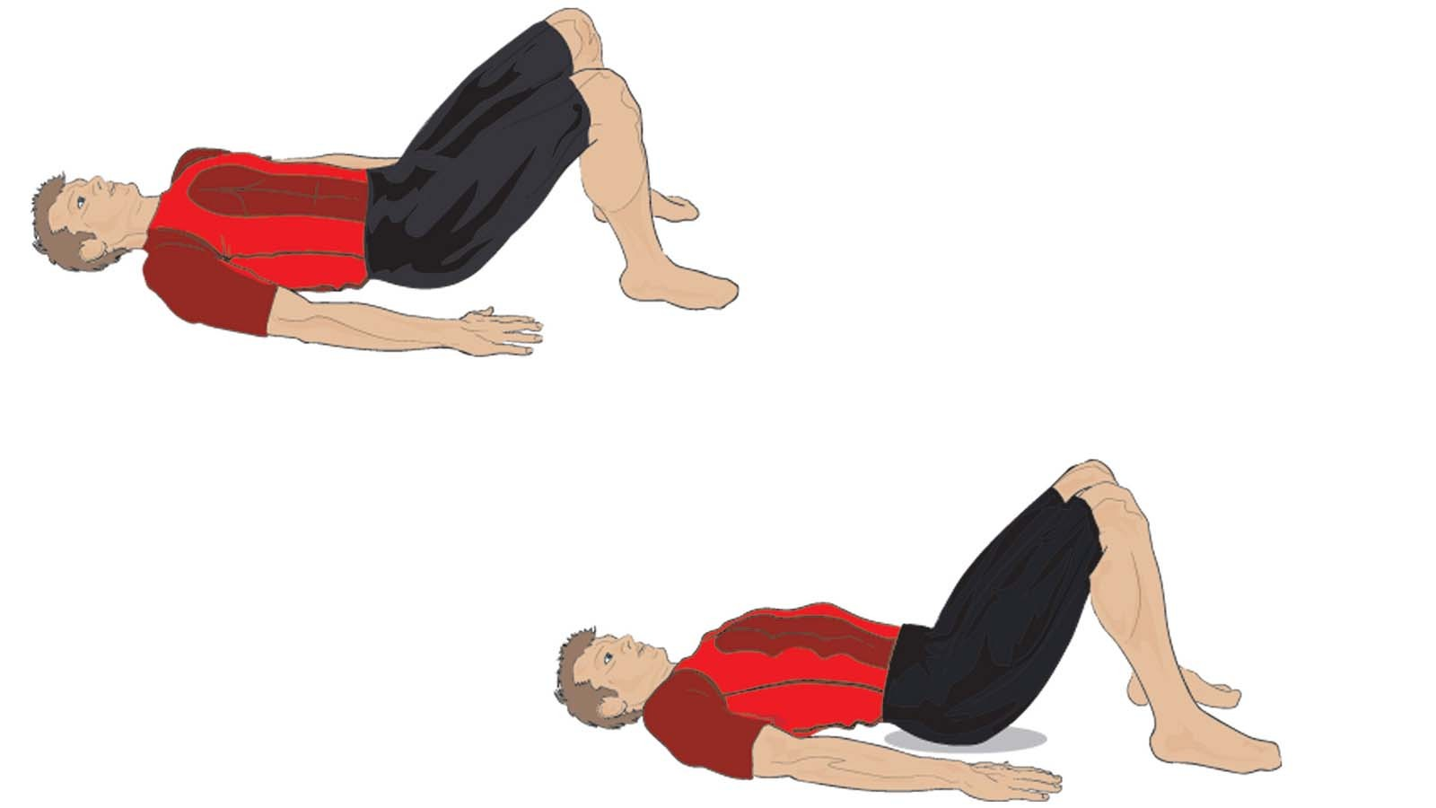 Perform the pelvic tilt by lifting your abs up while lying on your back with your legs angled at 90 degrees