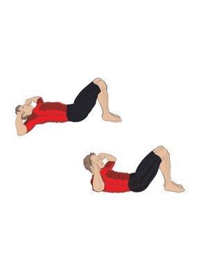 Perform a crunch by lying on your back and using your abs to slowly lift your head and shoulders