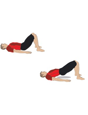 Perform roll-ups by lifting your midesection while lying on your back with your legs at 90 degrees