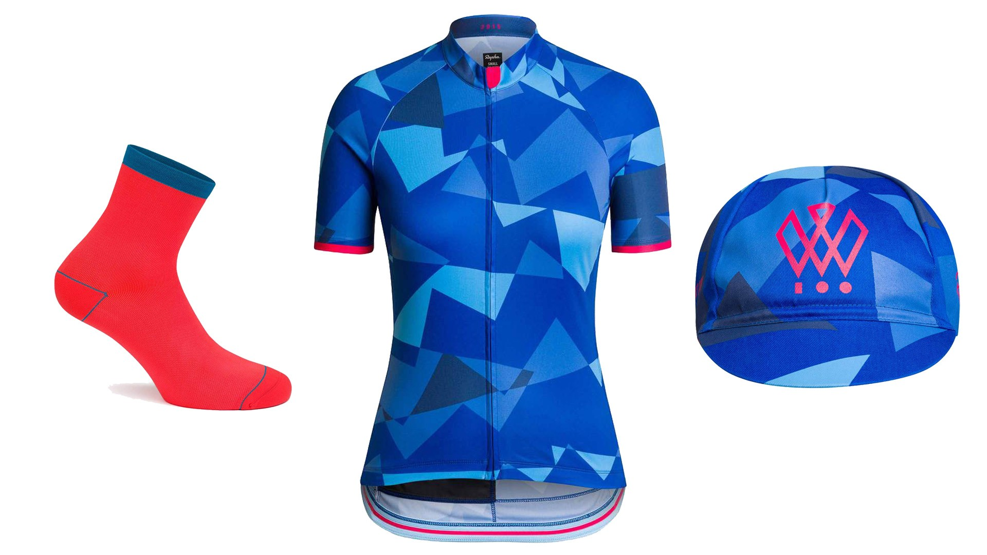 The Rapha Women's 100 capsule collection consists of socks, cap and jersey