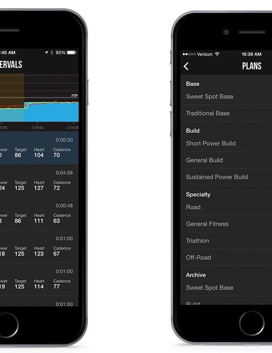 Training plan options in TrainerRoad's iOS app