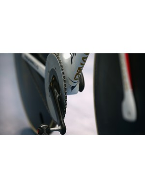 Wiggins' bike has a reshaping of the chainring and hubs for further aerodynamic benefits