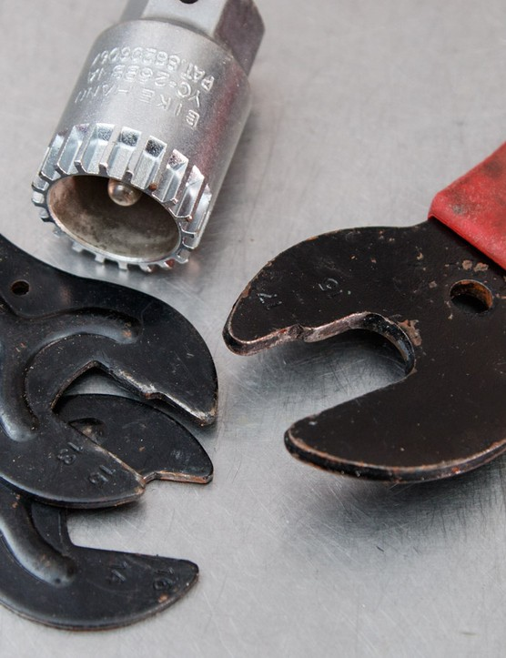 Others, however, suffer from poor fit and weak materials — the pedal wrench on the right is a cheapie and badly rounded a pedal from being a loose fit