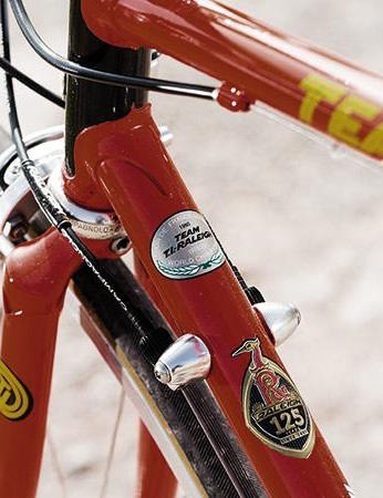 The down tube bears a poignant reminder of Raleigh's glory days