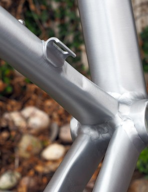 There's nary a round tube to be found on the new Eddy Merckx Blockhaus 67 frame. The seat tube, for example, is flared and ovalized at the bottom bracket shell