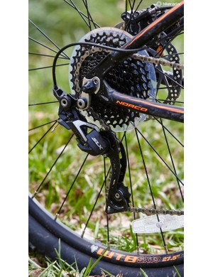The 2x10 transmission simplifies gear selection, but at the expense of taller ratios for fast road riding