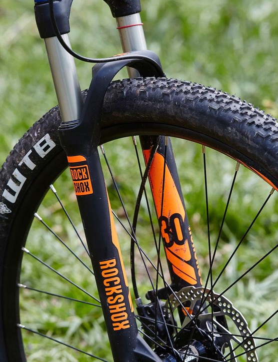 RockShox's budget airsprung XC 30 fork is unsophisticated and a bit flexy but will do the job for most
