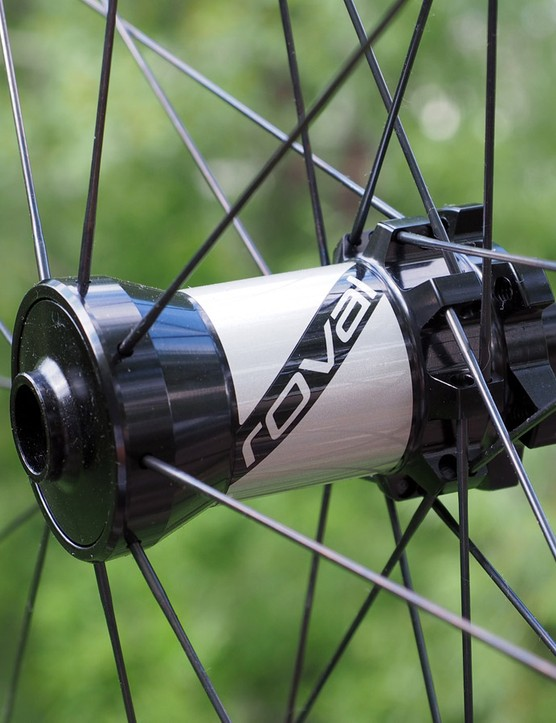 The huge front hub can accommodate quick-release, 15mm, or 20mm thru-axle setups