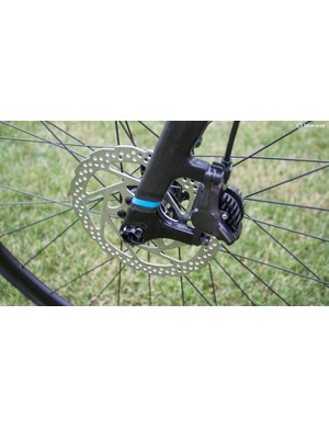 The disc brakes use conventional post mounts
