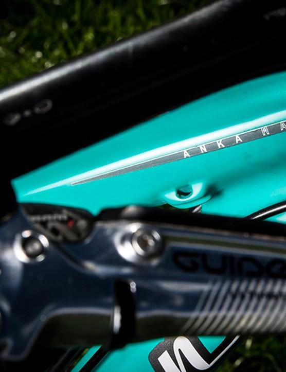 Anka Martin has a few little details that make the bike her own, like these custom graphics