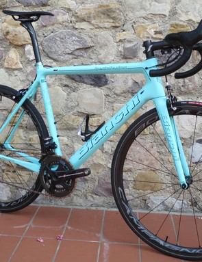 The all new Specialissima, a lightweight pro-race machine Bianchi promises will banish the nervousnous of lightweight bikes for a great-handling machine