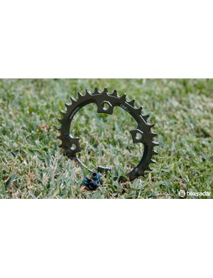XTR M9000 cranks use a proprietary offset four bolt BCD - something that OneUp Components caters to with its Narrow Wide chainrings