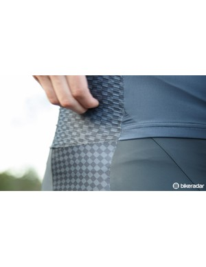 An unusual rougher material sits at the hips of the Two-In-Suit, we suspect this is to help trip the air