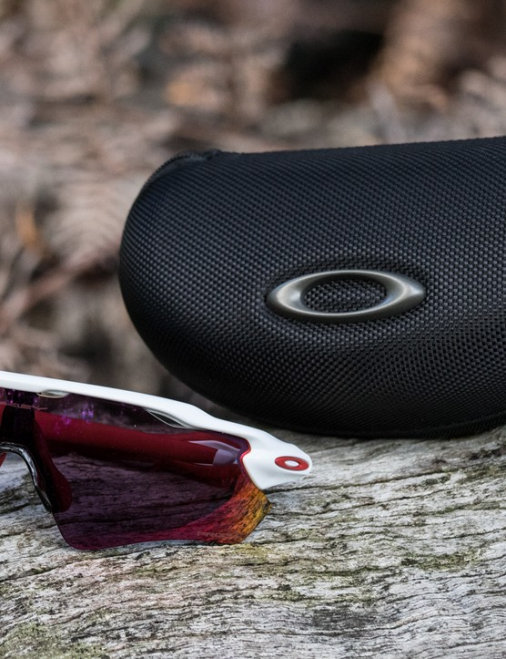The Oakley Radar EVs are supplied with a soft microfibre pouch, a spare thicker nose piece and Oakley's soft vault case