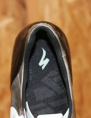 A top view of the new, narrower heel counter