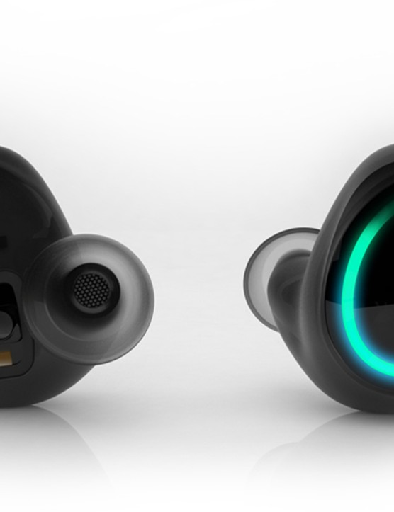 The in-ear buds can be connected to a tether for security