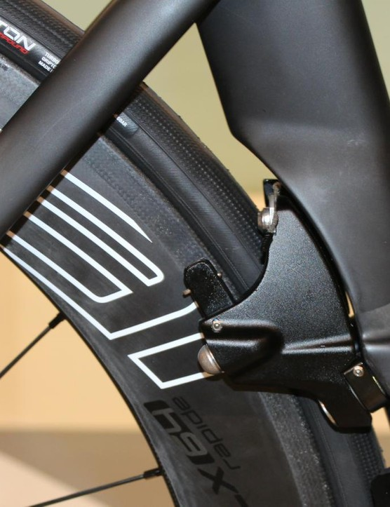 The ViAS rear brake pivots on two mounts protruding from the seat tube