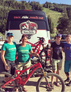 The Yeti Betis are a Colorado-based women's mountain bike team dedicated to getting more women into the sport through skills its VIDA skills clinics and the annual Yeti Beti Bike Bash. From left to right: Elena Forchielli, Chelsea McGowan, Amy Thomas and Sarah Rawley