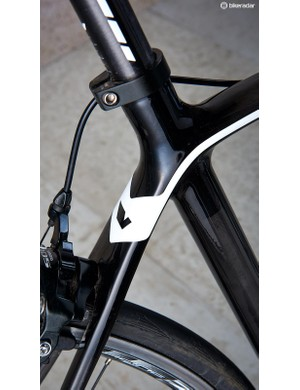 The steeper seat tube promotes powerful seated climbing