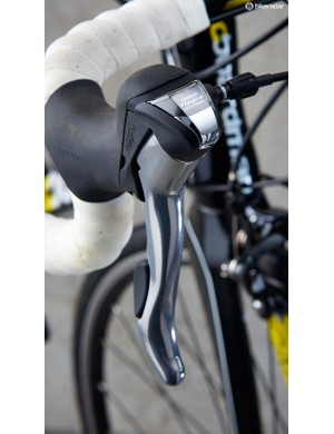 The Tiagra levers have side-exiting cables