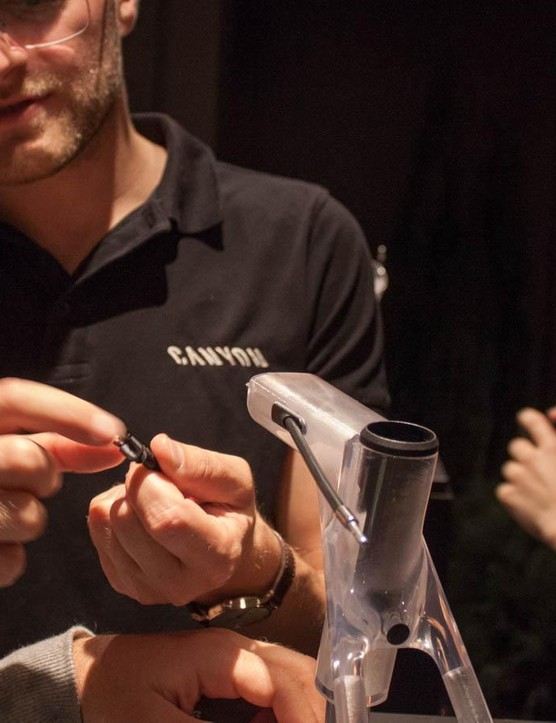 Canyon engineer Michael Adomeit is proud of his cable stops