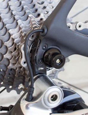 The rear derailleur hanger is a claimed 25 percent stiffer than before