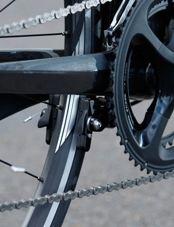 A direct-mount brake sits tucked beneath the bottom bracket on the entire Corsa DR range