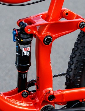 An ultra stiff rear triangle using a Horst pivot (aka: FSR) drives the RockShox Monarch shock