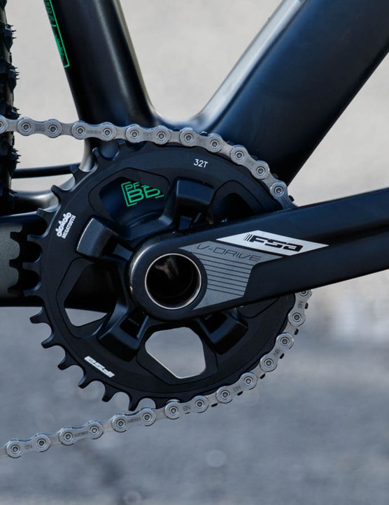 Shimano XT 11-speed matched to a single-ring FSA crank
