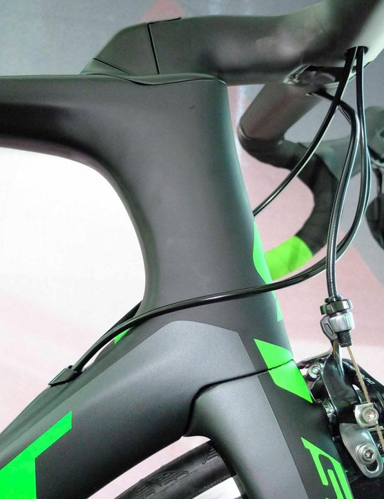 A lengthened and smoothed out head tube, dropped down tube and recessed fork crown help aerodynamically