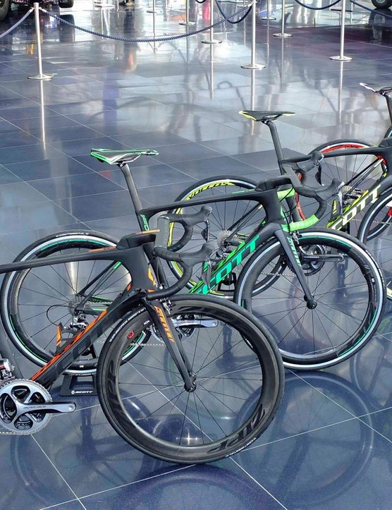 The new Foil's fully coordinated five bike line up in hierarchy order from left (expensive), to right (entry level)