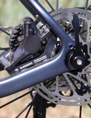The rear brake is mounted to the chainstay