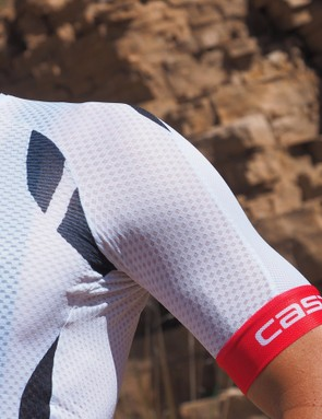 The Castelli Climber's Jersey 2.0 uses the aero cut of Castelli's race jersey with whisper-thin mesh material