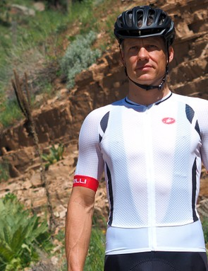 The Castelli Climber's Jersey 2.0 is probably better worn with white bibs straps...