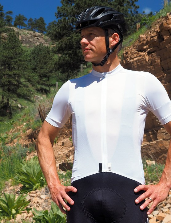 The Rapha Climber's Jersey uses a mix of materials on the front, sides and back. We'd prefer to see more mesh on the front — not for looks, but for air flow