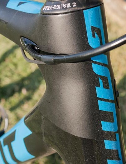 The cables flow neatly into the front of the top tube