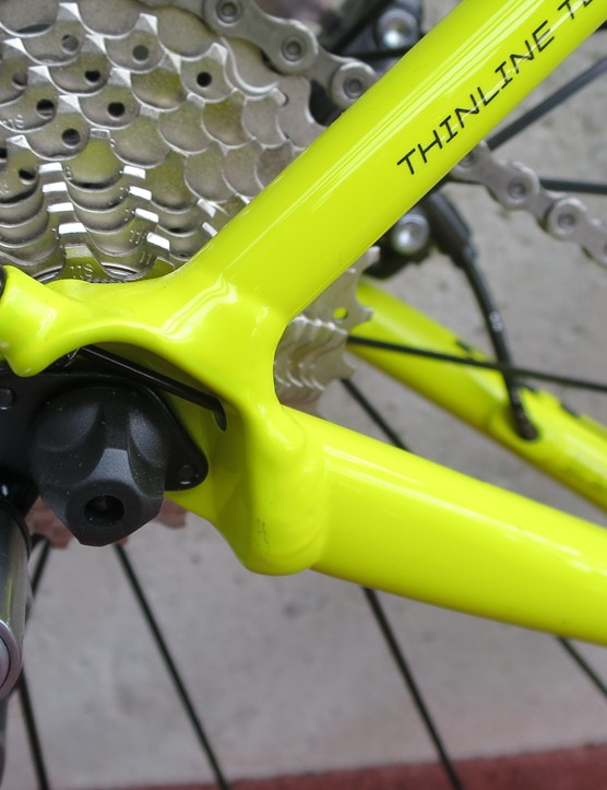 The rear drive side dropout neatly integrates the exit for the internal cable routing