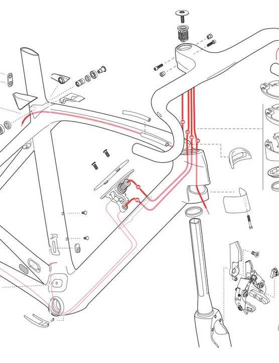 A schematic representation of the new Trek Madone's internal cable routing