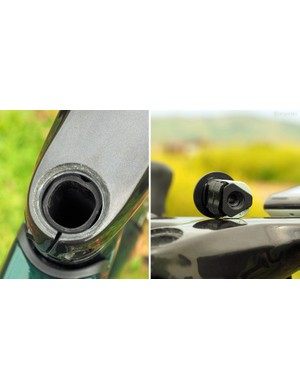 The steerer tube uses a squared-off shape to accommodate the internally routed cables, which are tucked up tight against the steerer and run down through the upper headset bearing. The unique steerer tube still uses a conventional 1 1/8in stem clamp but requires a dedicated compression plug