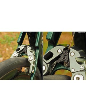 Underneath the outer aluminium cover (which also helps reinforce the mechanism), you can see the brake's inner guts at work