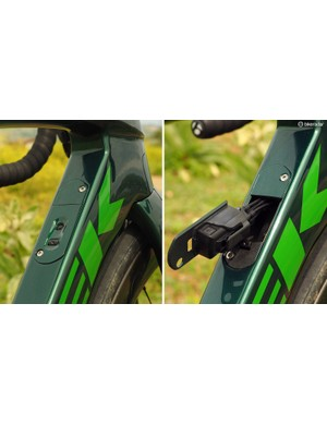 The 'Madone Control Center' incorporates both the junction box and battery into an easily accessible hatch in the down tube - or for mechanical systems, a large barrel adjuster and a pair of hidden housing stops
