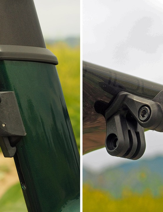 With such proprietary shapes front and rear, standard accessory mounts just won't work well. Trek has thankfully incorporated dedicated light, computer, and camera mounts