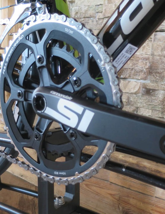 The new 3D forged Si chainset makes an appearance on the base model 105 bike, but it weighs less than both Ultegra and Sram Force carbon units.