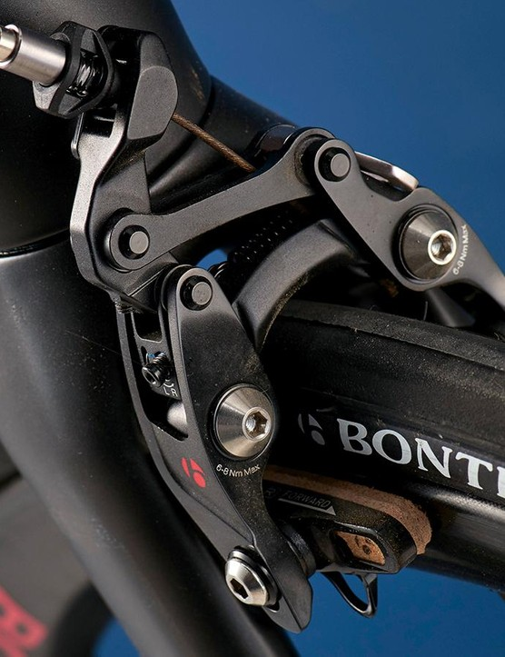 Bontrager's multi-pivoted brakes are lighter than Dura-Ace in spite of their complicated appearance