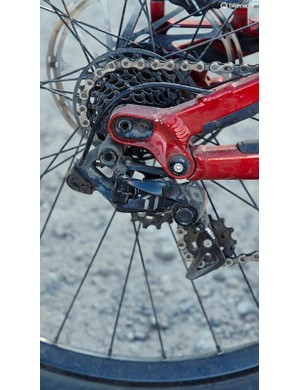 SRAM's seven-speed X01 DH transmission provides just enough gears for most downhill tracks, but should you wreck the rear mech a replacement will cost you over £200