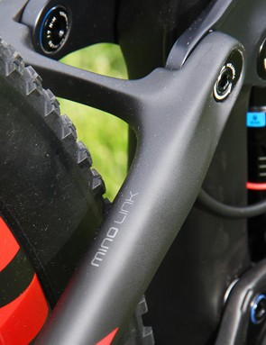 The Top Fuel 9.9 SL gets Trek's Mino Link to adjust the bottom bracket height by 10mm and the head tube angle by 1 degree